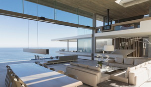 Modern, luxury home showcase interior living room and dining room with ocean viewの写真素材 [FYI02183244]