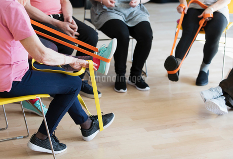 Active seniors stretching, exercising with strapsの写真素材 [FYI02183630]