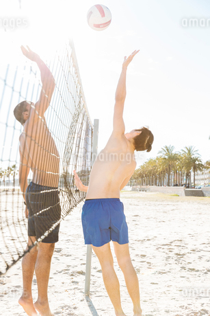 Men playing beach volleyball on sunny beachの写真素材 [FYI02184185]