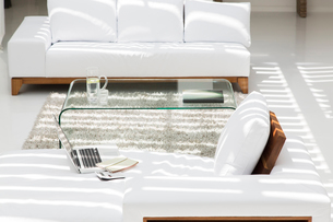Laptop, sofas and coffee table in modern living roomの写真素材 [FYI02186431]