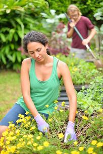 Woman wearing tank top and gloves gardening, man raking in backgroundの写真素材 [FYI02186732]