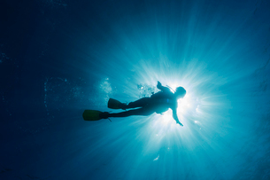 Sun shining behind woman scuba diving underwater, Maldives, Indian Oceanの写真素材 [FYI02186793]