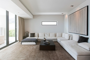 View of modern living room with sofas, coffee table and abstract paintingの写真素材 [FYI02187539]