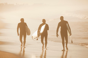 Older surfers carrying board on beachの写真素材 [FYI02187554]