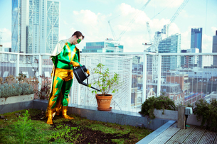 Superhero watering potted plant on city rooftopの写真素材 [FYI02187884]