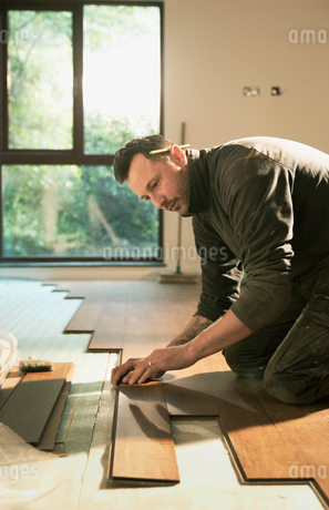 Focused construction worker laying hardwood flooring in houseの写真素材 [FYI02188597]