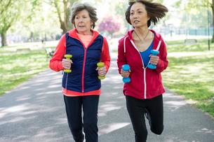 Active senior women friends jogging with hand weights in parkの写真素材 [FYI02188720]