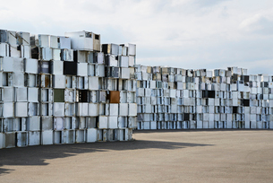 Sweden, Uppland, Lovsta, Household appliances stacked for reの写真素材 [FYI02190358]