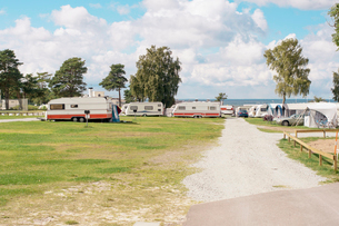 Sweden, Oland, Motor home at campingの写真素材 [FYI02190370]