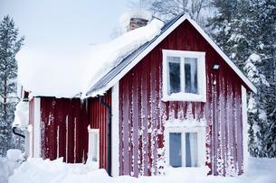 Sweden, Gastrikland, ivantjarn, Log cabin covered with frostの写真素材 [FYI02190382]
