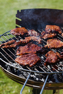 Sweden, Vasterbotten, Barbecue grill whit meatの写真素材 [FYI02190471]