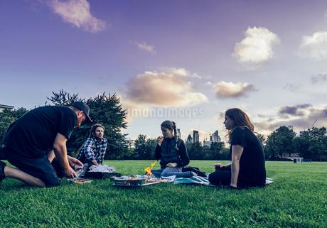 Friends enjoying picnic in parkの写真素材 [FYI02191755]