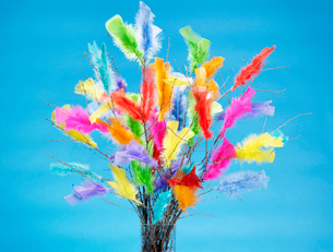 Bouquet of colorful feathersの写真素材 [FYI02192790]