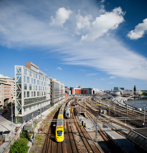 Sweden, Stockholm, Train and railroad truck in cityの写真素材 [FYI02192980]