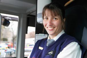Sweden, Portrait of female bus driverの写真素材 [FYI02193165]