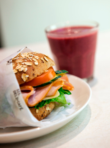 Spain, Andalusia, Close-up of sandwich and milkshakeの写真素材 [FYI02193537]
