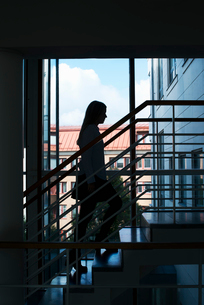Sweden, Vastra Gotaland, Gothenburg, School of Business, Economics and Law, Young woman on stairsの写真素材 [FYI02194107]