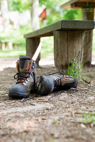 Sweden, Skane, Soderasen, Pair of hiking boots in forestの写真素材 [FYI02195315]