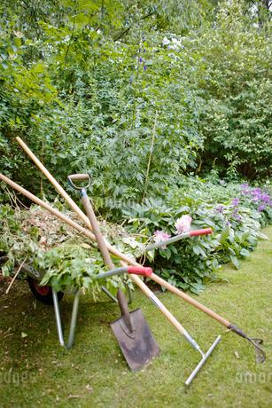 Sweden, Skane, Gardening tool leaning against wheel barrow in gardenの写真素材 [FYI02195529]