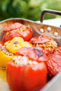 Sweden, Skane, Hoganas, Stuffed peppersの写真素材 [FYI02195540]