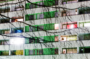 Finland, Lahti, View of facade with birch trees in frontの写真素材 [FYI02195558]