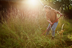 Sweden, Smaland, Alsterbro, Female farmer cutting grassの写真素材 [FYI02196352]