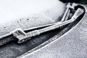 Sweden, Bohuslan, Close-up of car covered with frostの写真素材 [FYI02196667]