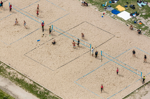 Sweden, Stockholm, Ostermalm, Gardet, Volleyball courts on sandの写真素材 [FYI02196748]