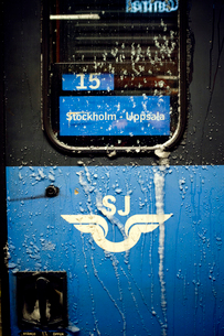 Sweden, Stockholm, Train exterior covered in frostの写真素材 [FYI02196776]