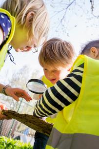 Sweden, Vastergotland, Olofstorp, Bergum, Kindergarten children learning outdoorsの写真素材 [FYI02197059]