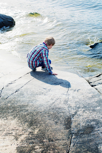 Sweden, Uppland, Oregrund, Boy (8-9) touching cold sea waterの写真素材 [FYI02197194]