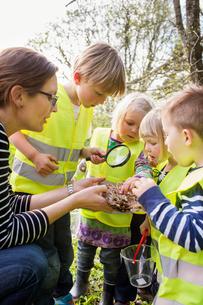 Sweden, Vastergotland, Olofstorp, Bergum, Woman taking care of children (2-3, 6-7) outdoorsの写真素材 [FYI02197436]