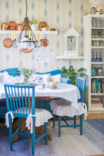 Sweden, Interior of rustic countryside kitchenの写真素材 [FYI02197457]
