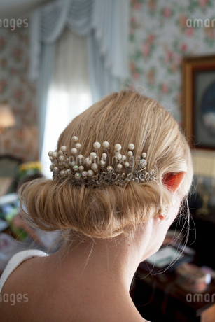 Sweden, Close up of bride's hairstyleの写真素材 [FYI02197921]
