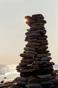 Sweden, Oland, Gronhogen, Picture of stone heapの写真素材 [FYI02198083]