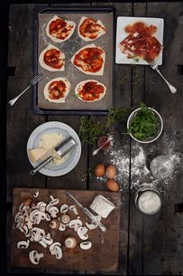 View of variation of pizza's ingredientsの写真素材 [FYI02198257]