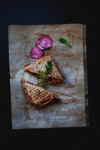 Studio shot of sandwich toasted with beets and spinachの写真素材 [FYI02198369]