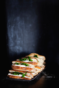 Sandwich with brie on tray in dark roomの写真素材 [FYI02198402]