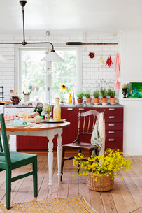 Sweden, Interior of kitchen with dining tableの写真素材 [FYI02198414]