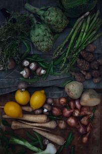 Variation of vegetables with lemonの写真素材 [FYI02198510]