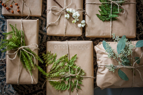Sweden, Wrapped Christmas presents with twigsの写真素材 [FYI02199168]