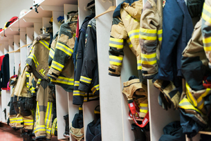 Sweden, Sodermanland, Sodertalje, Changing cubicles for firefightersの写真素材 [FYI02199261]