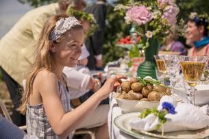 Sweden, Skane, Children (6-11 months, 8-9) celebrating traditional festivalの写真素材 [FYI02199394]