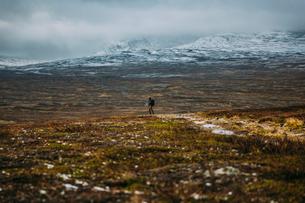 Sweden, Sylama, Jamtland, Man hiking in mountainsの写真素材 [FYI02200064]