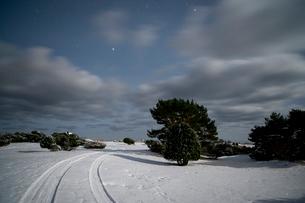 Sweden, Gotland, Holmhallar, Stars on sky over snowy fieldの写真素材 [FYI02200234]