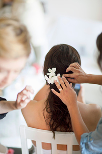 Sweden, Pinning flowers into young bride's hairstyleの写真素材 [FYI02200301]