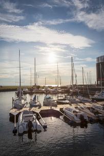 Sweden, Skane, Malmo, Vastra Hamnen, Sailboats in marinaの写真素材 [FYI02200487]