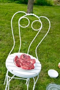 Sweden, Ostergotland, Vikbolandet, Raw steaks on plateの写真素材 [FYI02201034]