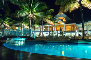 Trinidad and Tobago, Lowlands, Tobago Plantations Estate, View of illuminated holiday resortの写真素材 [FYI02201287]