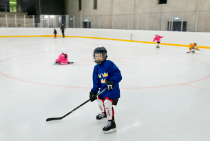 Sweden, Young male hockey player (8-9) on iceの写真素材 [FYI02201298]